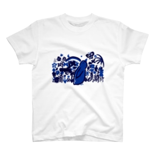 お花畑・青バージョン胸元デザイン Tシャツ