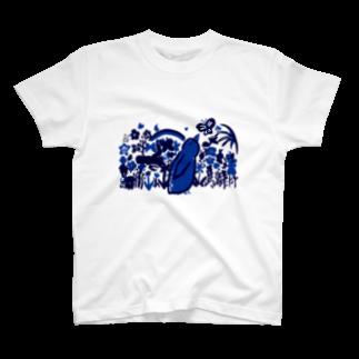 ツルマルデザインのお花畑・青バージョン胸元デザイン Tシャツ
