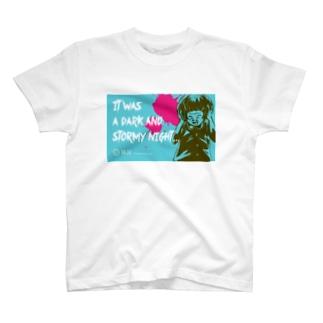 怖話-Girlイラスト3(T-Shirt Blue) Tシャツ