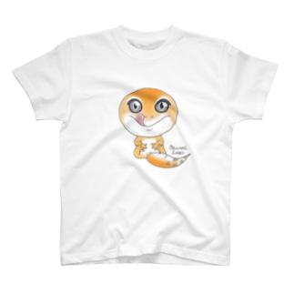 おすわりレオパ(スーパーハイタン系) Tシャツ
