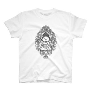 仏にゃん(黒線) Tシャツ