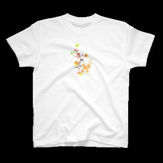 朱留の猫と落葉Tシャツ