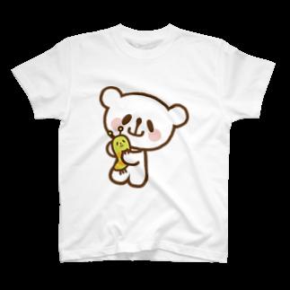 おやまくまオフィシャルWEBSHOP:SUZURI店のなかよしおやまくまとおやまむしTシャツ