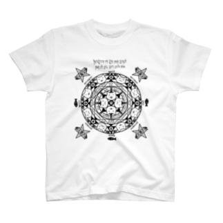 猫召喚魔法陣(黒線) Tシャツ