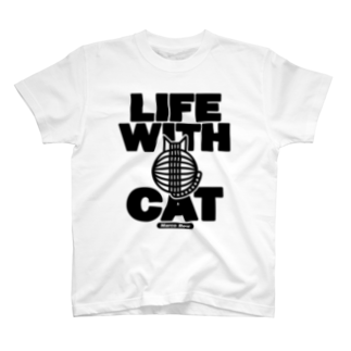 SHOP W SUZURI店のLIFE WITH a CAT TシャツTシャツ