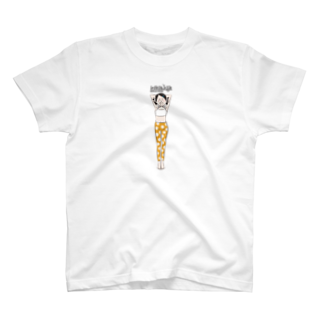 komomoaichiの頭立ちのポーズ(シルシアーサナ・ヘッドスタンド)の女の子Tシャツ