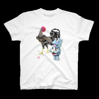 有明ガタァ商会の魚植綵絵〜雄鶏陸吾郎図Tシャツ