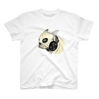 ちょっと怖いフレンチブルドッグのイラスト Tシャツ