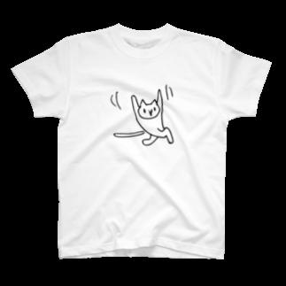 一心不乱に踊るネコTシャツ Tシャツ