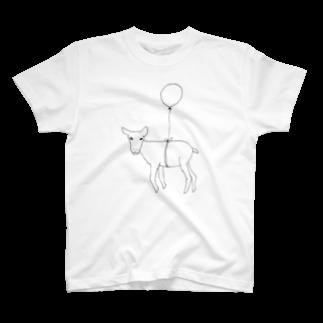 デザインオフィスbard(バード)の風船で浮くヤギTシャツ Tシャツ