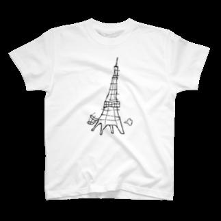 デザインオフィスbard(バード)の犬みたいにはしゃぐ東京タワーTシャツTシャツ