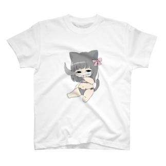 二頭身萌え萌え加瀬にゃん Tシャツ
