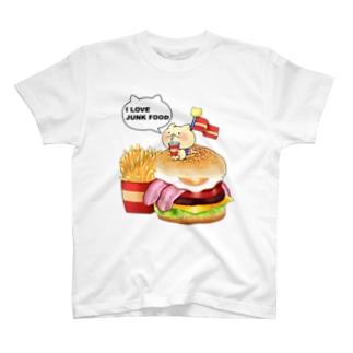 ねことハンバーガーセット Tシャツ