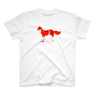 赤い狐 Tシャツ