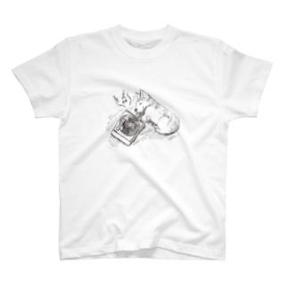 コーギーとレコード Tシャツ
