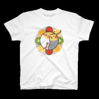 オカメインコのほほらら工房 SUZURI支店の【オカメインコ】フルーツオカメズ Tシャツ
