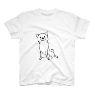 ななめ座り(白柴) Tシャツ