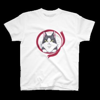 えるろくのハチワレねこ(長毛) Tシャツ