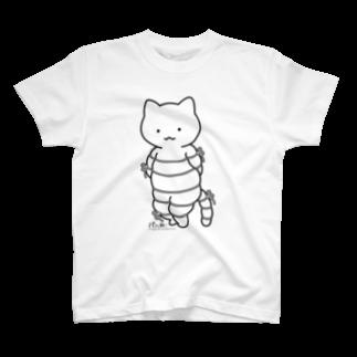 PygmyCat suzuri店のボンレスニャン(黒線)Tシャツ