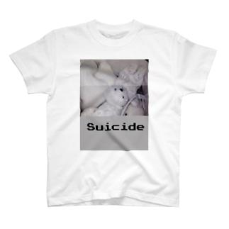 白殺クマ女の子 Tシャツ