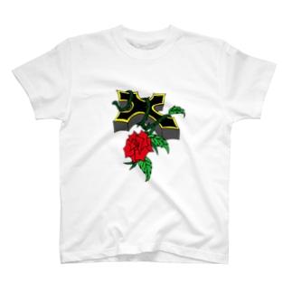 薔薇クロス Tシャツ