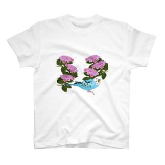 インコと紫陽花 Tシャツ