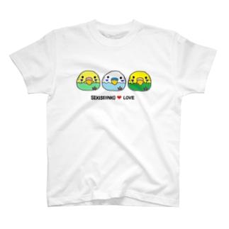 セキセイインコ三兄弟 Tシャツ