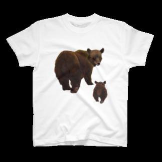 gomaphの冬眠めざめのおやこヒグマTシャツ
