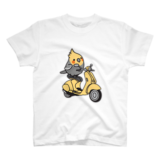 Cody the LovebirdのChubby Bird バイクに乗ったオカメインコTシャツ