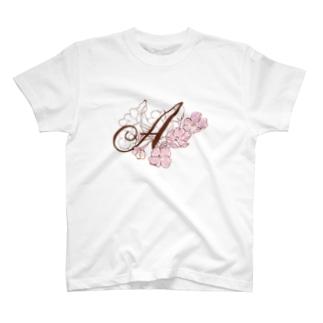 """sakura-A""Decorative alphabetシリーズ Tシャツ"
