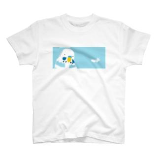 セキセイインコと羽 Tシャツ