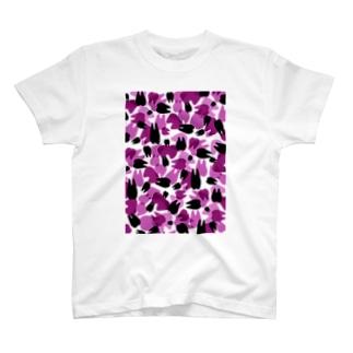 Tooth camo・パープル Tシャツ
