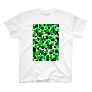 Tooth camo・ライトグリーン Tシャツ