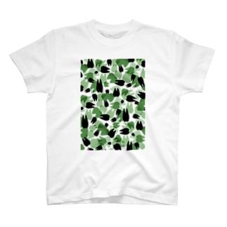 Tooth camo・ダークグリーン Tシャツ