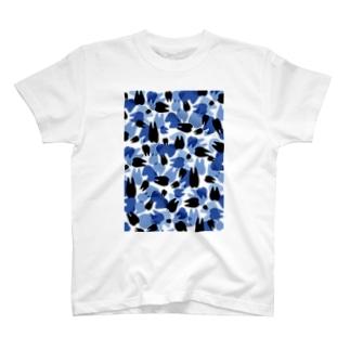 Tooth camo・ダークブルー Tシャツ