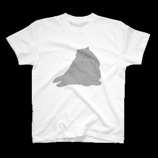つかさのおデブ灰色猫の日向ぼっこ Tシャツ
