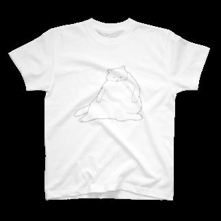 つかさのおデブ白猫の日向ぼっこTシャツ