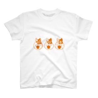 3匹のネコやん(オレンジ) Tシャツ