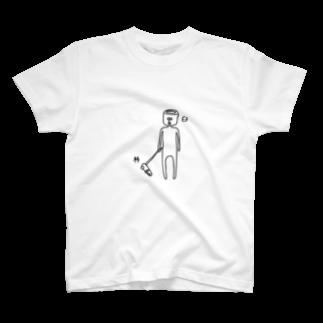 PokuStarの杵と臼のツーショット Tシャツ