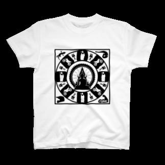 FUNAI RACINGの修行僧マンダラ(白)  Tシャツ