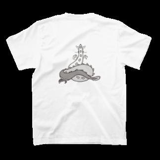 さくら もたけのおしり干支シリーズ_辰ver.黒 T-shirtsの裏面