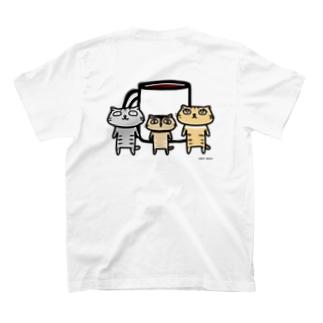 【ねこカフェの店員さん】めざめるコーヒー T-shirts