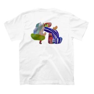 (front)ぱたぱた(back)のびのびどーう T-shirts
