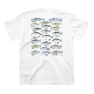 鯖鮪鰆鰹図 バックプリント T-shirts