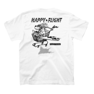 nidan-illustrationのhappy dog #2 -happy flight- (white ink) T-shirtsの裏面
