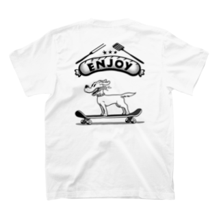 nidan-illustrationのhappy dog #3 -ENJOY- (black ink) T-shirtsの裏面