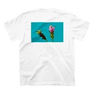 <back print> Curcuma alismatifolia - blue T-shirts