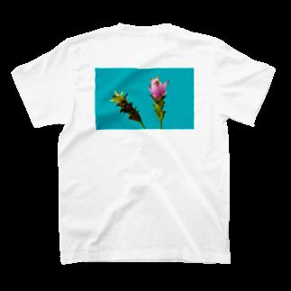 CALAKUEN(SOIL)の<back print> Curcuma alismatifolia - blue T-shirts