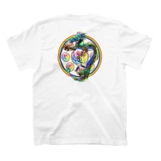 心マンダラ極彩ドラゴン T-shirts