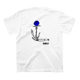 smoke flour blue バックプリント T-shirts